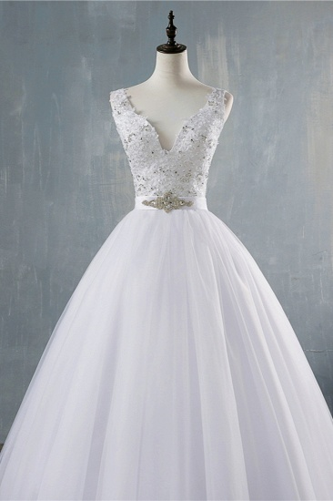 BMbridal Chic Starps V-Neck Beadings Tulle Wedding Dress Sleeveless Appliques Bridal Gowns with Rhinestones_5