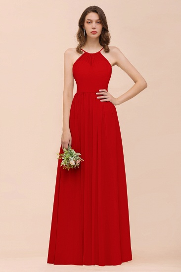 BMbridal Gorgeous Chiffon Halter Ruffle Affordable Long Bridesmaid Dress_8