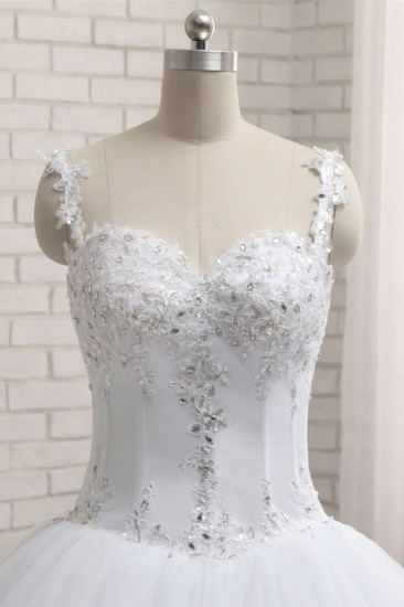 BMbridal Stunning White Tulle Lace Wedding Dress Strapless Sweetheart Beadings Bridal Gowns with Appliques_5