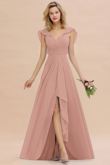 Modest Hi-Lo V-Neck Ruffle Long Bridesmaid Dress with Slit_6