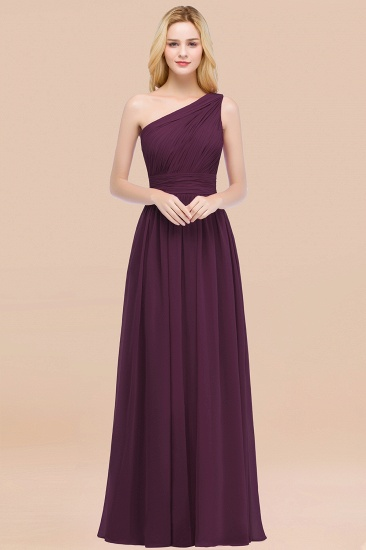 Chic One-shoulder Sleeveless Burgundy Chiffon Bridesmaid Dresses Online_20