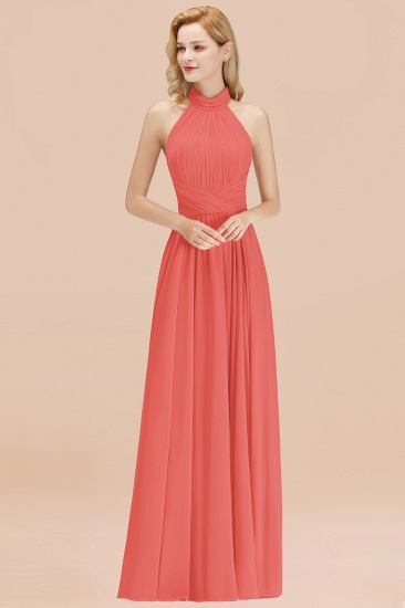 BMbridal Gorgeous High-Neck Halter Backless Bridesmaid Dress Dusty Rose Chiffon Maid of Honor Dress_7