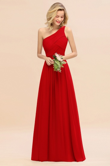 Chic One Shoulder Ruffle Grape Chiffon Bridesmaid Dresses Online_8