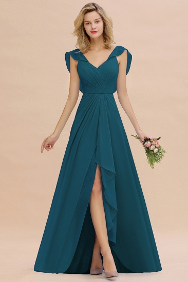 Modest Hi-Lo V-Neck Ruffle Long Bridesmaid Dress with Slit_27