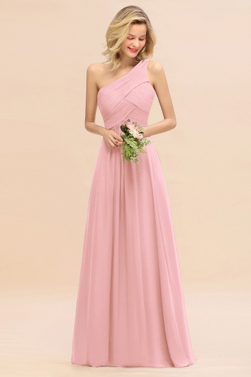Chic One Shoulder Ruffle Grape Chiffon Bridesmaid Dresses Online_4