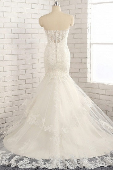 BMbridal Gorgeous Strapless Sleeveless Lace Tulle Wedding Dress Sweetheart Appliques Mermaid Bridal Gowns Online_3