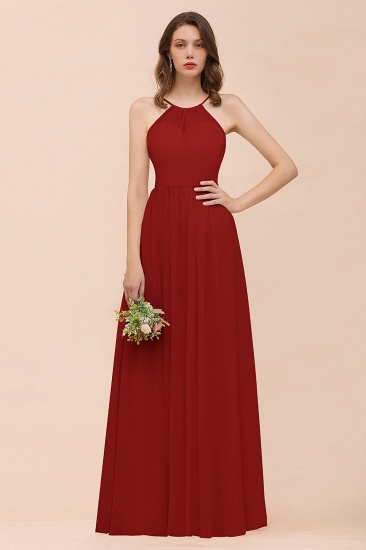 BMbridal Gorgeous Chiffon Halter Ruffle Affordable Long Bridesmaid Dress_48