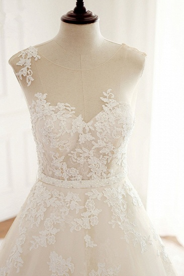Stylish Jewel A-Line Tulle Ivory Wedding Dress Appliques Sleeveless Bridal Gowns with Beading Sash Online_5