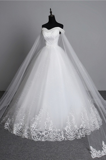 BMbridal Glamorous Strapless Sweetheart Tulle Wedding Dress Sleeveless Appliques Bridal Gowns with Rhinestones On Sale_5