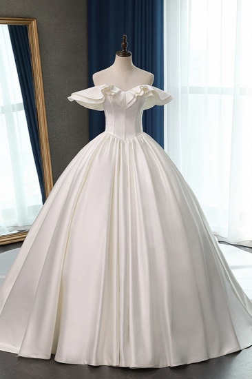 BMbridal Stylish Strapless Sweetheart Satin Wedding Dress Ruffles Sleeveless Ball Gowns Bridal Gowns On Sale_1