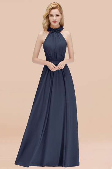 Modest High-Neck Halter Ruffle Chiffon Bridesmaid Dresses Affordable_39