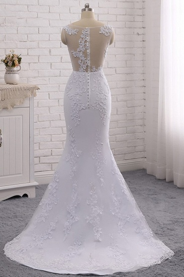 BMbridal Stylish Jewel Mermaid Lace Appliques Wedding Dress White Sleeveless Beadings Bridal Gowns with Overskirt On Sale_8