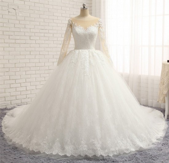 BMbridal Affordable White Tulle Ruffles Wedding Dresses Jewel Longsleeves Lace Bridal Gowns With Appliques Online_7