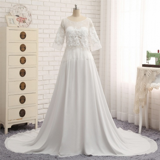 Modest Halfsleeves White Jewel Wedding Dresses Chiffon Lace Bridal Gowns With Appliques On Sale_6