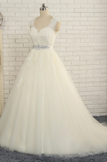 BMbridal Sexy Straps Sleeveless Lace Wedding Dresses With Appliques A line Tulle Ruffles Bridal Gowns On Sale_4