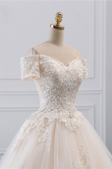 Affordable Off-the-Shoulder White Tulle Lace Wedding Dress Sweetheart Appliques Bridal Gowns On Sale_6