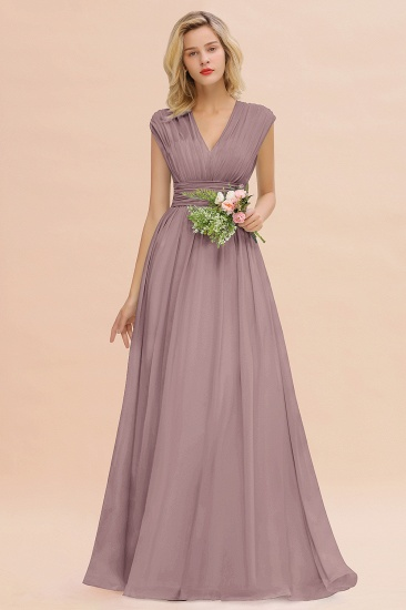 Elegant Chiffon V-Neck Ruffle Long Bridesmaid Dresses Affordable_37