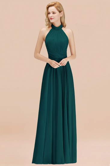 Gorgeous High-Neck Halter Backless Bridesmaid Dress Dusty Rose Chiffon Maid of Honor Dress_33