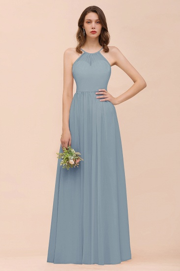 BMbridal Gorgeous Chiffon Halter Ruffle Affordable Long Bridesmaid Dress_40