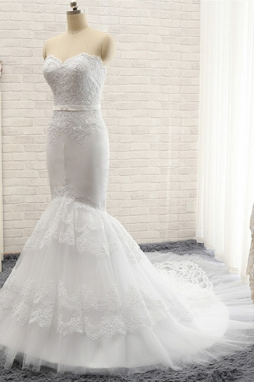 BMbridal Affordable Sweetheart White Lace Wedding Dresses Tulle Satin Bridal Gowns With Appliques On Sale_4