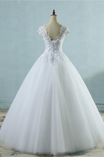 Elegant V-Neck Tull Lace White Wedding Dress Short Sleeves Appliques Bridal Gowns Online_3