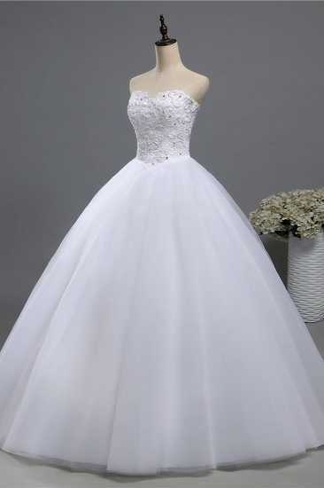 BMbridal Chic Strapless Sweetheart Tulle Lace Wedding Dresses Sleeveless Appliques Bridal Gowns with Beadings_4