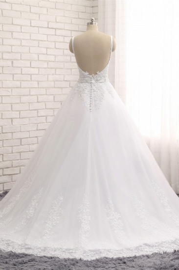 BMbridal Gorgeous V neck Straps Sleeveless Wedding Dresses White A line Lace Bridal Gowns With Appliques Online_3