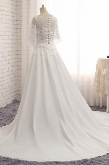 Modest Halfsleeves White Jewel Wedding Dresses Chiffon Lace Bridal Gowns With Appliques On Sale_3