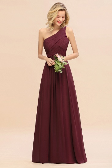 Chic One Shoulder Ruffle Grape Chiffon Bridesmaid Dresses Online_10