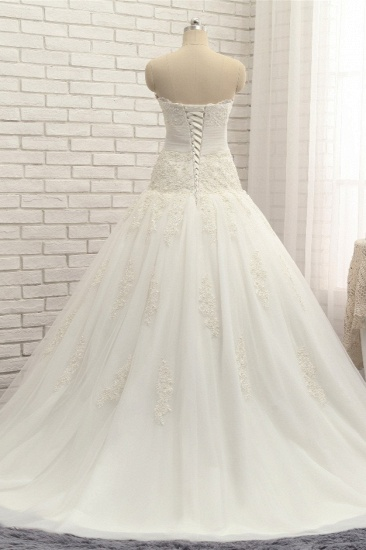 Glamorous Strapless Tulle Lace Wedding Dress Sweetheart Sleeveless Bridal Gowns with Appliques On Sale_3