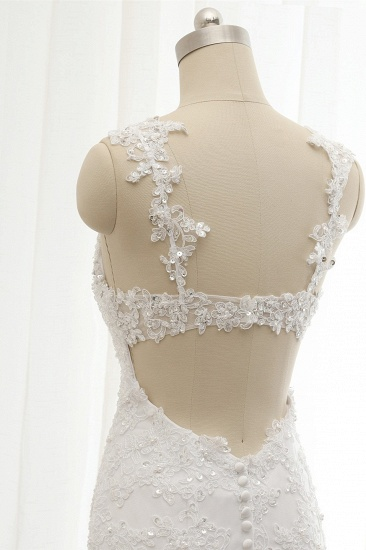 BMbridal Elegant Straps Sweetheart Lace Wedding Dress Sexy Backless Sleeveless Appliques Bridal Gowns with Beadings_6