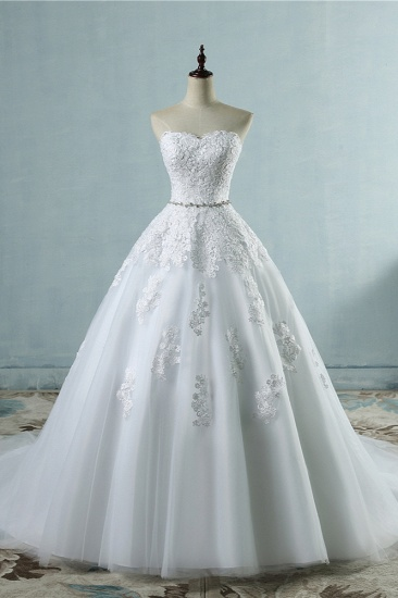 Sexy Strapless Sweetheart Tulle Wedding Dress Sleeveless Appliques Bridal Gowns with Beadings Sash_1