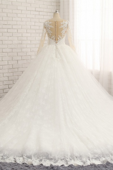 BMbridal Affordable White Tulle Ruffles Wedding Dresses Jewel Longsleeves Lace Bridal Gowns With Appliques Online_3
