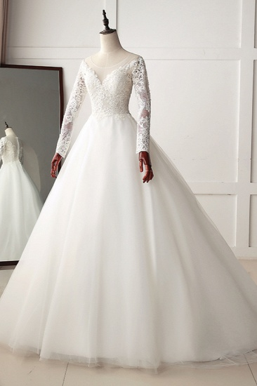 BMbridal Elegant Jewel Tulle Lace White Wedding Dress A-Line Long Sleeves Appliques Bridal Gowns On Sale_4