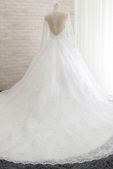Stylish Longsleeves A line Lace Wedding Dresses Tulle Ruffles Bridal Gowns With Appliques Online_3
