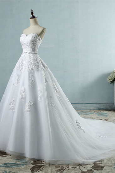 BMbridal Sexy Strapless Sweetheart Tulle Wedding Dress Sleeveless Appliques Bridal Gowns with Beadings Sash_4