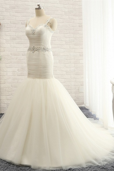 Unique Ivory Straps Mermaid Wedding Dresses Tulle Ruffles Sequins Bridal Gowns Online_4