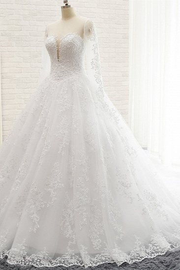 Stylish Longsleeves A line Lace Wedding Dresses Tulle Ruffles Bridal Gowns With Appliques Online_1
