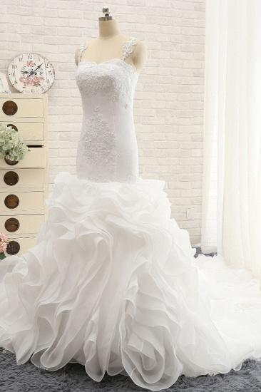 BMbridal Sexy Sleeveless Straps Ruffles Wedding Dresses With Appliques White Mermaid Satin Bridal Gowns Online_4