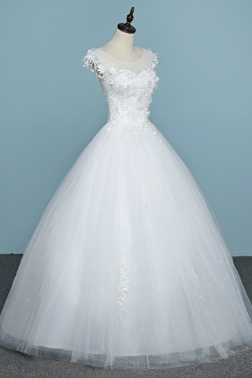 BMbridal Chic Jewel Tulle Lace White Wedding Dress Sleeveless Appliques Bridal Gowns with Flowers Online_4