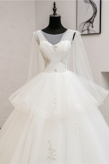 Gorgeous Jewel Sleeveless White Wedding Dress Tulle Appliques Bridal Gowns Online_6