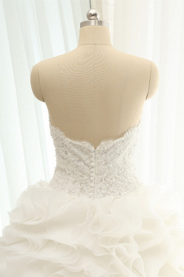 BMbridal Chic Sweatheart White A line Wedding Dresses Sleeveless Tulle Bridal Gowns Online_5