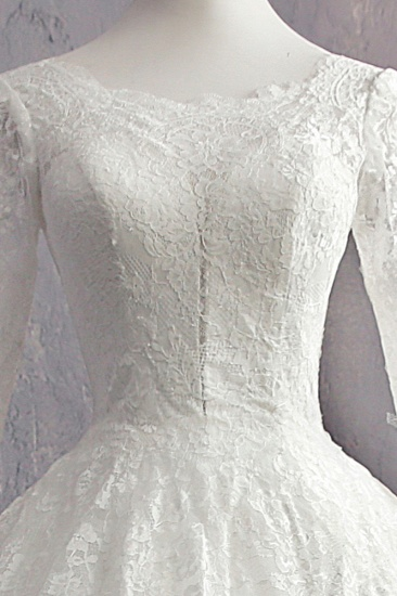 BMbridal Glamorous Jewel White Tulle Lace Wedding Dress Long Sleeves Appliques Bridal Gowns On Sale_6