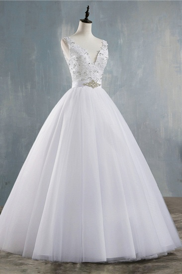 BMbridal Chic Starps V-Neck Beadings Tulle Wedding Dress Sleeveless Appliques Bridal Gowns with Rhinestones_4