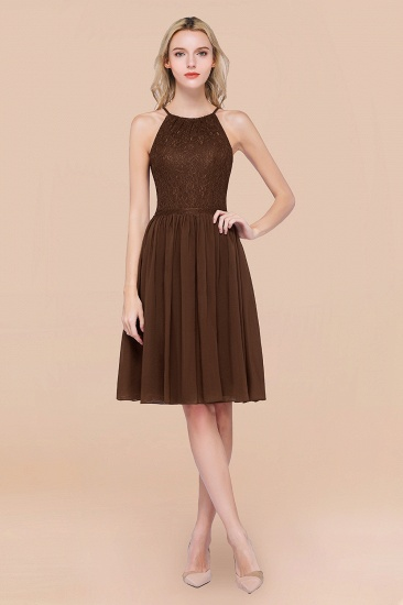 Lovely Burgundy Lace Short Bridesmaid Dress With Spaghetti-Straps_12