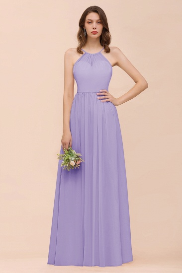 BMbridal Gorgeous Chiffon Halter Ruffle Affordable Long Bridesmaid Dress_21