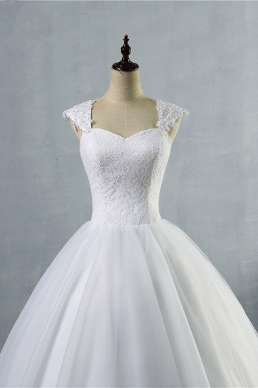 Affordable Sweetheart Tulle Lace Wedding Dresses Cap-Sleeves Appliques Bridal Gowns Online_5