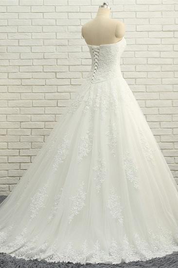 BMbridal Gorgeous Bateau White Tulle Wedding Dresses A line Ruffles Lace Bridal Gowns With Appliques Online_3