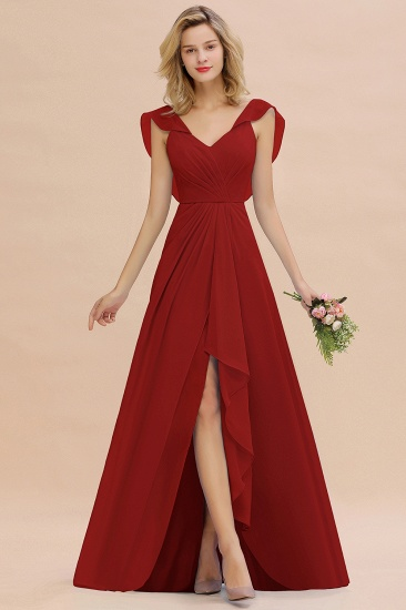 Modest Hi-Lo V-Neck Ruffle Long Bridesmaid Dress with Slit_48