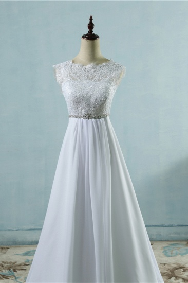 Affordable Chiffon Jewel Lace Ruffles Wedding Dress Sleeveless Appliques Bridal Gowns with Beading Sash_5